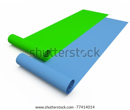 two colored rolled paper with slight shadow isolated over white