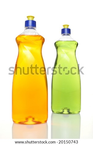 Two colorful bottles of dish washing liquid on white background.
