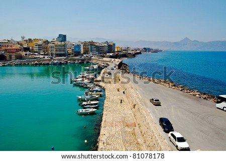 Two colors of the Sea in Heraklion city (Crete, Greece)