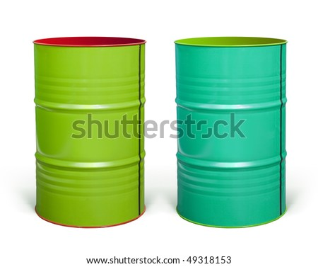 two coloured steel barrels on white background with paths