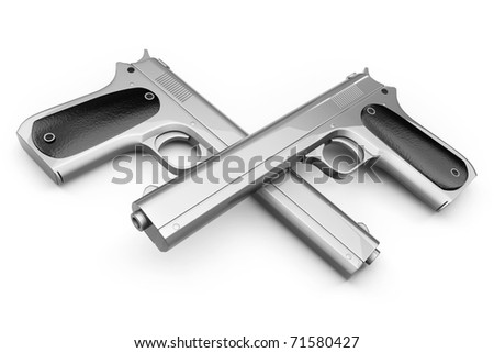 Two Colt pistol, crossed with each other and isolated on a white background