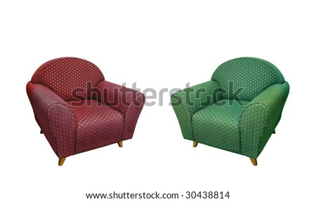 Two comfortable armchairs, isolated