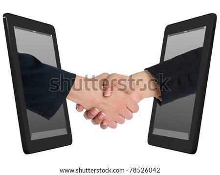 Two Computer Device and Hands in handshaking, Inctrnet Working Concept, Wireless Communication, Online Business