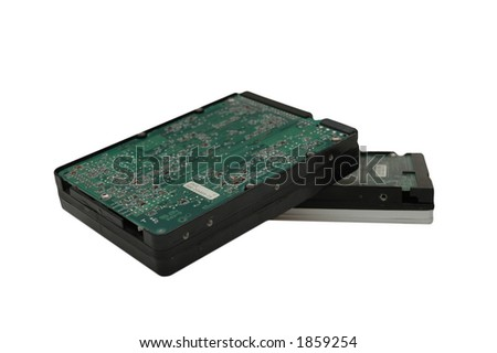 Two computer hard drives isolated on white