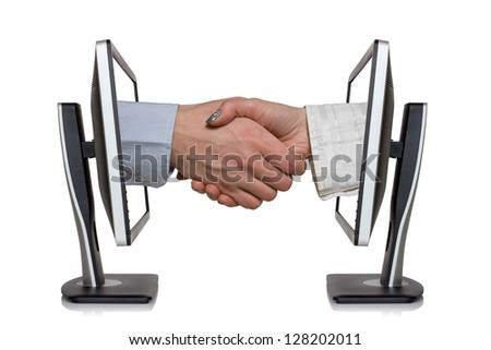 Two computer monitors and hands in handshaking, internet working concept, wireless communication, on-line business
