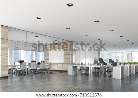 Two conference rooms with glass and wooden walls and an open space open office area. A poster. 3d rendering mock up