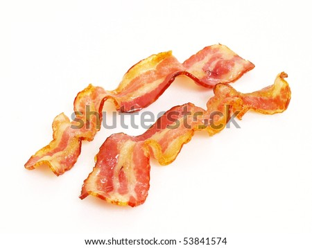 two cooked bacon isolated in white