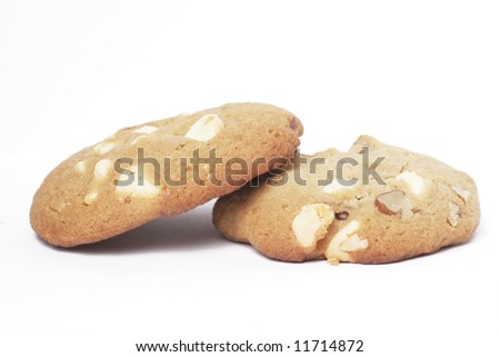Two Cookie Biscuit With White Chocolate And Macadamia Nuts, Plain Background