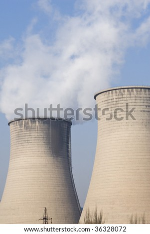 two cooling towers of a power plant in northern china.