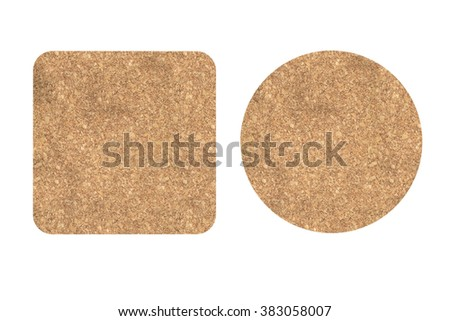 Two Cork Beer Coasters on a white background