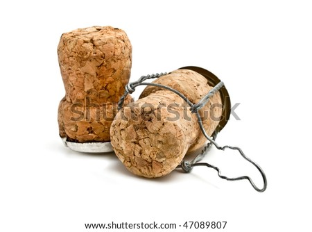two cork from champagne isolated