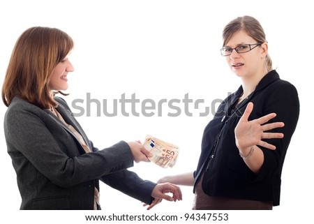 Two corrupted business women bribe with Euro bank notes, isolated on white background.