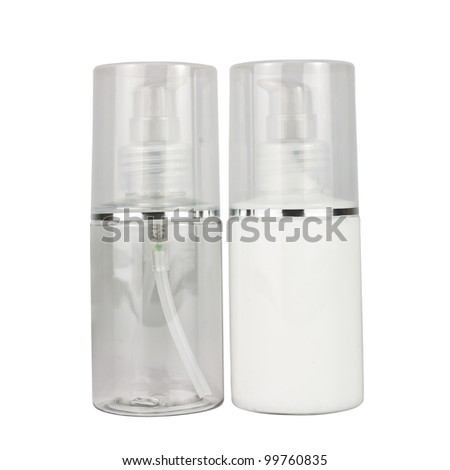 two cosmetics bottle on white background