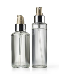 two cosmetics bottle on white background with clipping path
