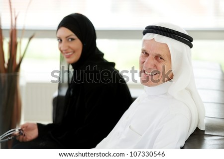 Two couple Muslim in office