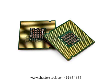 two CPU closeup on white background