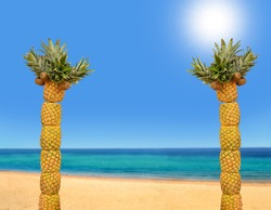 two creative palm tree with pineapples and kiwis on the beach with copy space