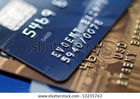 two credit cards, narrow focus. closeup.