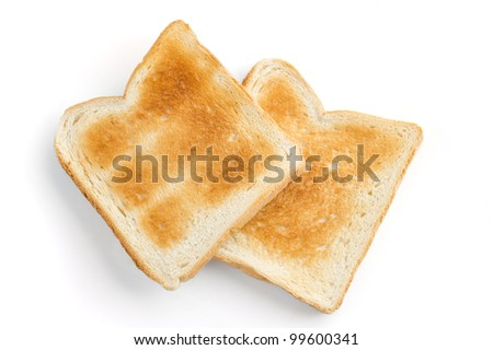 two crispy toast on a white background