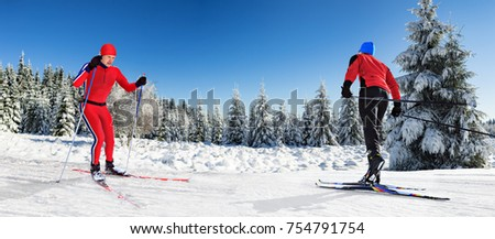 Two cross-country ski runners in front of wintry landscape #754791754
