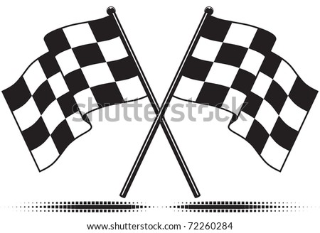 Black White Clip  Auto Racing on Two Crossed Checkered Flags  Black And White Design  Gradient Free