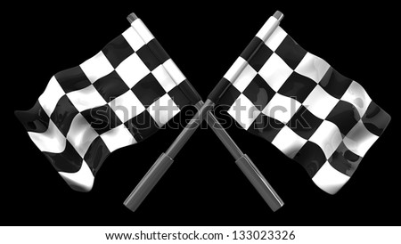 Two crossed checkered flags isolated on black background. high resolution 3d illustration