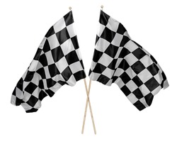 Two crossed pair of waving black white chequered flag with wooden stick motorsport sport and racing concept isolated background