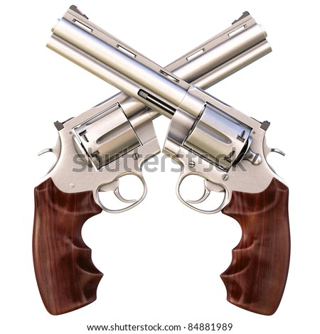 two crossed revolvers. isolated on white.