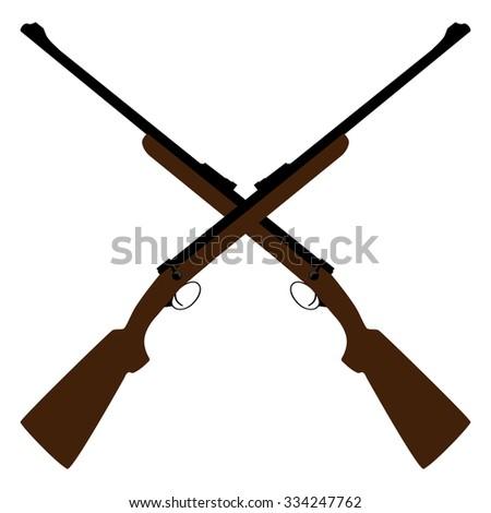 Two crossed rifle raster illustration. Hunting rifle. Sniper rifle. Old rifle. Revolution symbol