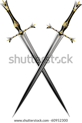 two crossed sword ornate steel swords. Raster Version