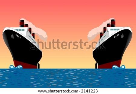 ships at sea. Two cruise ships at sea