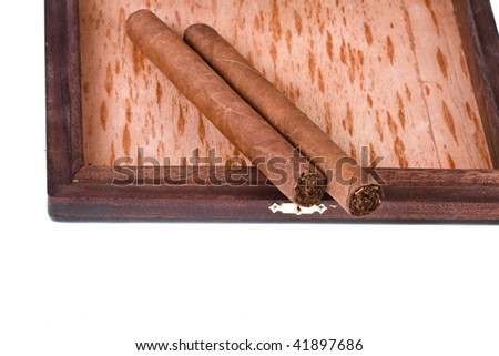Two Cuban Cigars in the Box  in mahogany