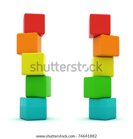 Two cube towers isolated