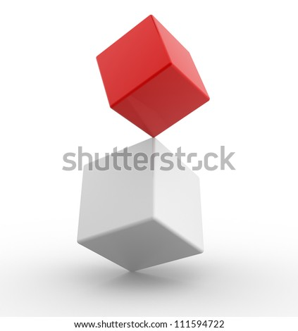 Two cubes in concept of balance. 3d render