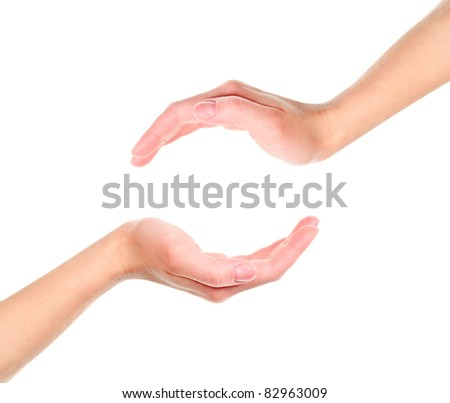 Two cupped hands isolated on white background