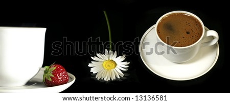 Two cups of coffee, flower and strawberry