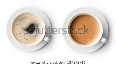 two cups of coffee isolated on white, top view #137172716