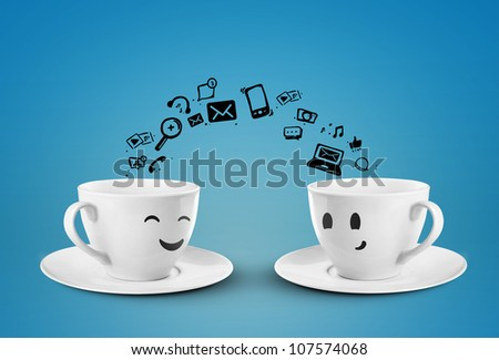 two cups social media concept. isolated