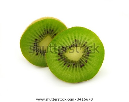 Two cut kiwi, isolated, against the white background.