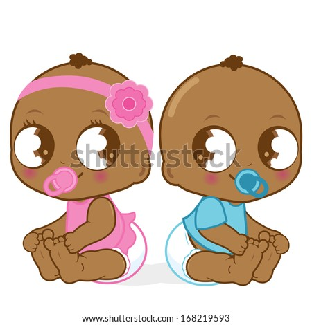Two cute African American babies, a baby girl and a boy. Vector version also available in my gallery.