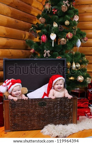 Two cute baby girls in xmas hats inside large chest