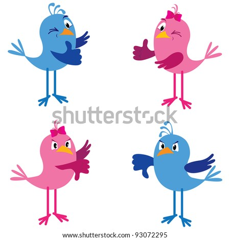 Two cute birds (boy and girl) showing thumbs up and down