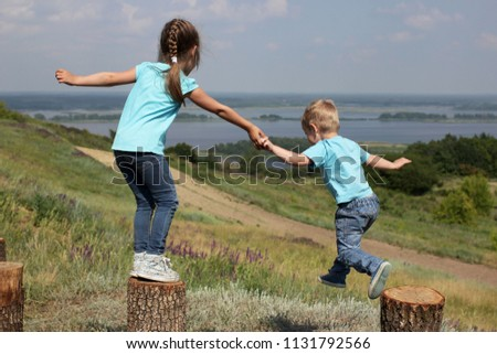 two cute children  sister and...