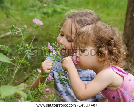 stock photo : Two cute girls smelling flowers. Summer time.