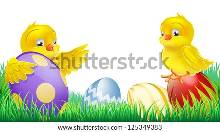 Two cute happy little yellow Easter chicks with colorful decorated Easter eggs - stock photo