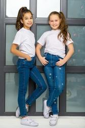 Two cute little girls posing in the studio near a large window.