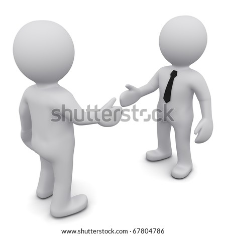 """Two 3D business man in ties shake hands on a white background. Series """"3D MAN"""""""