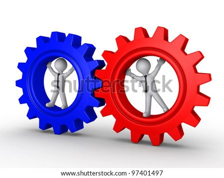 Two 3d businessmen inside different cogwheels