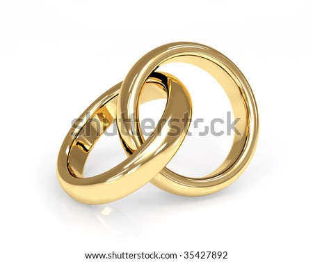 stock photo Two 3d gold wedding ring Objects over white