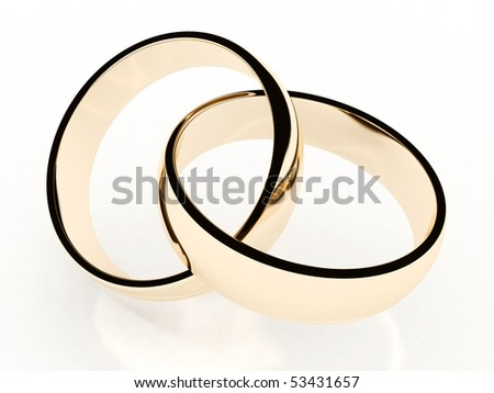 two 3d gold wedding rings